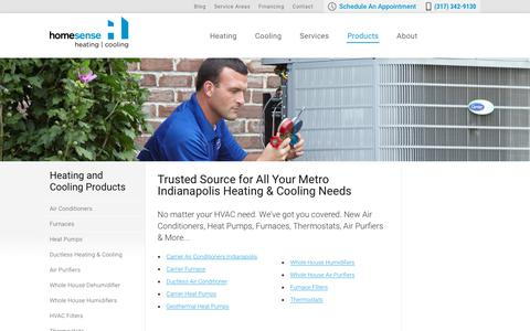 Screenshot of Products Page trusthomesense.com - Heating and Cooling Products | Homesense Heating and Cooling Indiana - captured Sept. 29, 2018