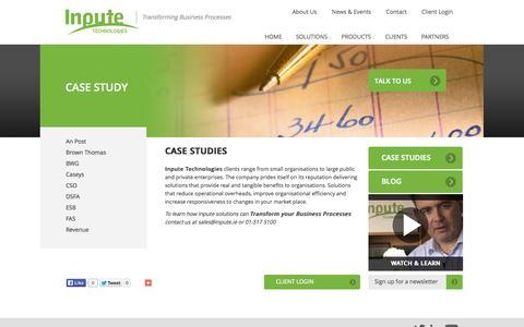 Screenshot of Case Studies Page inpute.com - Case Studies - Inpute Technologies - captured Oct. 23, 2014