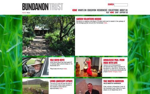 Screenshot of Press Page bundanon.com.au - Bundanon Trust - News - captured Oct. 5, 2014
