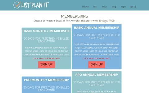 Screenshot of Signup Page listplanit.com - Basic Memberships and Pro Membership  | ListPlanIt - captured Jan. 30, 2016