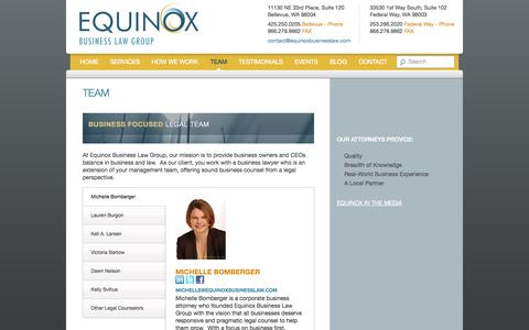 Screenshot of Team Page equinoxbusinesslaw.com - Bellevue| Seattle| Federal Way Business Lawyers/ Attorney | Equinox - captured Oct. 8, 2014