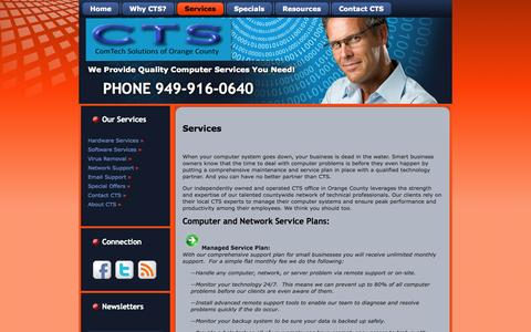 Screenshot of Services Page ctsoc.com - Services - captured Oct. 2, 2014