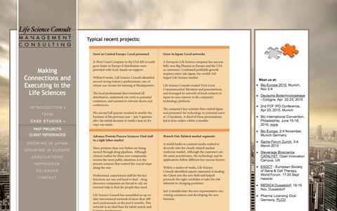 Screenshot of Case Studies Page lifescienceconsult.com - Life Science Business Development  & Executive Search - Case Studies - captured Dec. 9, 2015