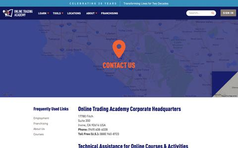 Screenshot of Contact Page tradingacademy.com - Contact Us - Online Trading Academy - captured Oct. 6, 2017