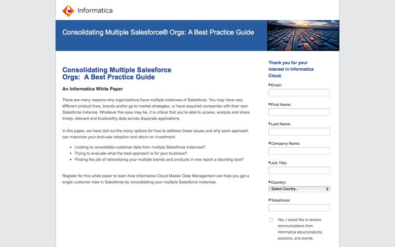 Consolidating Multiple Salesforce Orgs:  A Best Practice Guide - Informatica Cloud