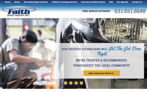 Screenshot of Home Page faithautoworks.com - Long Island Auto Body Repair Shop   Faith Auto Works Inc. - captured June 5, 2017