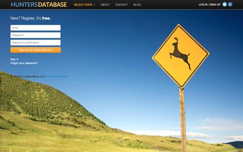 Screenshot of Signup Page huntersdb.com - Hunters Database: Sign up - captured Dec. 1, 2016