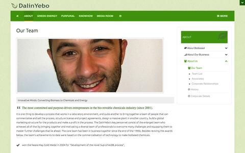 Screenshot of Team Page dalinyebo.com - Our Team | DalinYebo: Biomass to Chemicals & Energy - captured Oct. 5, 2014