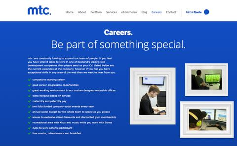Screenshot of Jobs Page mtcmedia.co.uk - Careers at mtc - captured Sept. 23, 2014