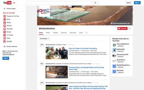 Screenshot of YouTube Page youtube.com - directcolorsinc  - YouTube - captured Oct. 23, 2014