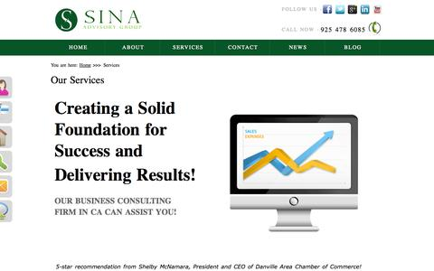 Screenshot of Services Page sinaadvisorygroup.com - Experienced Business Consulting Firms CA - Management Consulting - captured Oct. 2, 2014