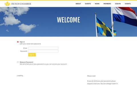 Screenshot of Login Page dutchchamber.se - Sign In - captured Oct. 13, 2017