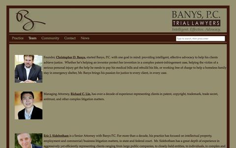 Screenshot of Team Page banyspc.com - Team | Banys, P.C., Trial Lawyers - captured Oct. 5, 2014