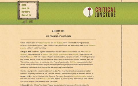 Screenshot of About Page criticaljuncture.org - Critical Juncture :: About Us - captured Oct. 27, 2014