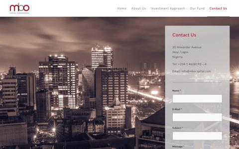 Screenshot of Contact Page mbocapital.com - Contact Us | MBO Capital Management Limited - captured Oct. 1, 2018