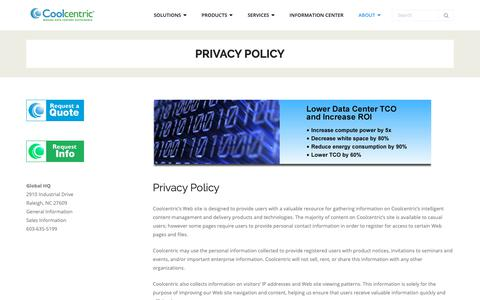 Screenshot of Privacy Page coolcentric.com - Privacy Policy - Coolcentric - captured Sept. 29, 2018