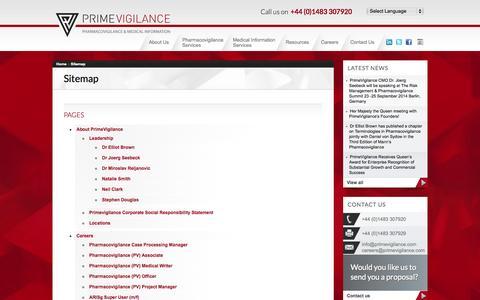 Screenshot of Site Map Page primevigilance.com - Sitemap - PrimeVigilance - captured Oct. 3, 2014
