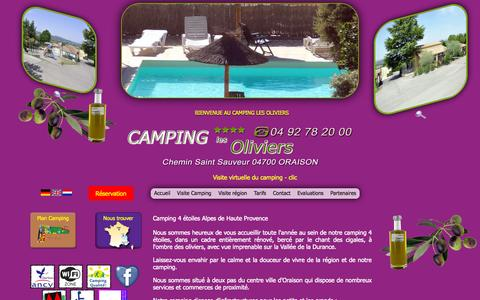 Screenshot of Home Page camping-oraison.com - Camping 4 étoiles > Camping Verdon > Camping Alpes Hautes Provence : www.camping-oraison.com - captured Oct. 16, 2015