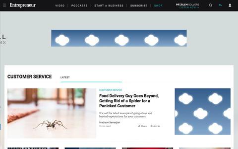 Screenshot of Support Page entrepreneur.com - Customer Service News & Topics - captured June 6, 2018