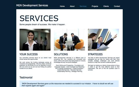 Screenshot of Services Page mgndevelopment.com - MGN Development Services | Services - captured Sept. 30, 2017