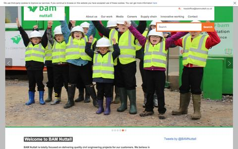 Screenshot of Home Page bamnuttall.co.uk - BAM Nuttall - captured Feb. 2, 2016