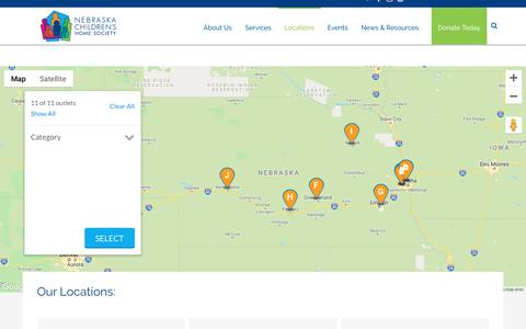 Screenshot of Locations Page nchs.org - Location Finder - Nebraska Children's Home Society - captured Oct. 20, 2018