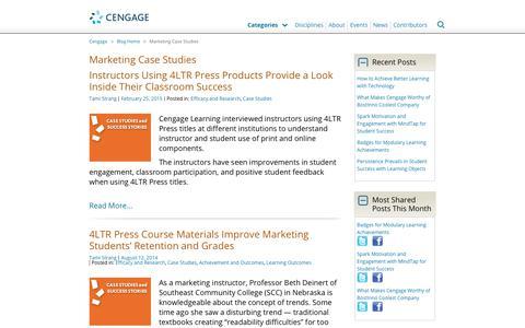 Screenshot of Case Studies Page cengage.com - Marketing Case Studies Archives - Cengage Blog - captured Aug. 4, 2017
