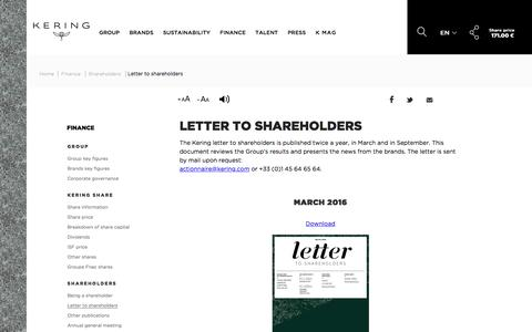 Letter to shareholders | Kering