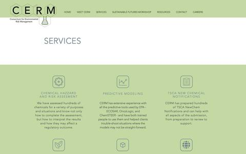 Screenshot of Services Page cermonline.com - CERM | Services - captured Nov. 11, 2016
