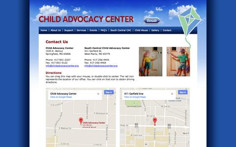 Screenshot of Contact Page childadvocacycenter.org - Contact the Child Advocacy Center - Springfield, Missouri - captured Oct. 2, 2014