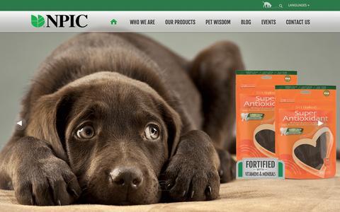 Screenshot of Home Page npicpet.com - Premium, Natural Pet Treats | NPIC Pet - captured Oct. 7, 2014