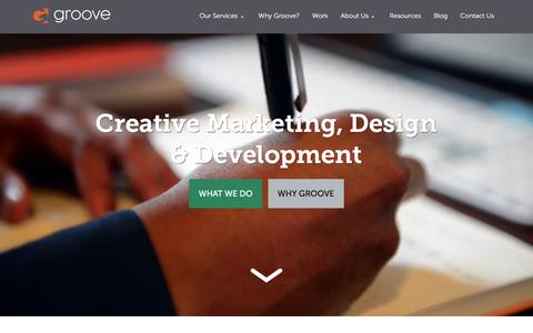 Screenshot of Home Page gotgroove.com - Magento Gold Partner | Hubspot Platinum Partner | Groove: Creative Marketing, Design & Development - captured Jan. 22, 2016