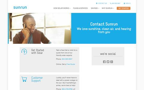 Screenshot of Contact Page sunrun.com - Contact Sunrun via Phone or Email - captured Nov. 21, 2015