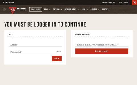 Screenshot of Login Page bjsrestaurants.com - Login   BJ's Restaurants and Brewhouse - captured Nov. 19, 2018
