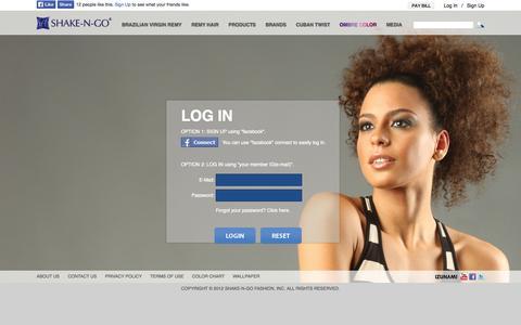 Screenshot of Login Page snghair.com - Login - Shake-N-Go Fashion, Inc. - captured Oct. 26, 2014