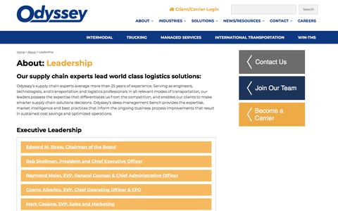Screenshot of Team Page odysseylogistics.com - Leadership - Supply Chain Experts -Odyssey Logistics & Technology - captured July 13, 2019