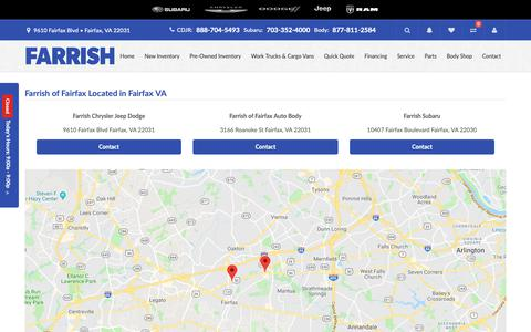 Screenshot of Locations Page farrishcars.com - Get Directions To Farrish of Fairfax in Fairfax - captured Oct. 10, 2018