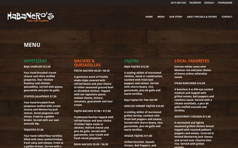 Screenshot of Menu Page habanerosfreshmex.com - Menu | Habanero's Fresh Mex - captured Dec. 7, 2015