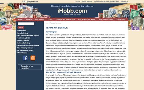 Screenshot of Terms Page ihobb.com - iHobb:Terms of Services - captured Oct. 12, 2018