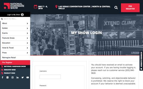 Screenshot of Login Page nationalhardwareshow.com - Login - NationalHardwareShow - captured Sept. 21, 2018