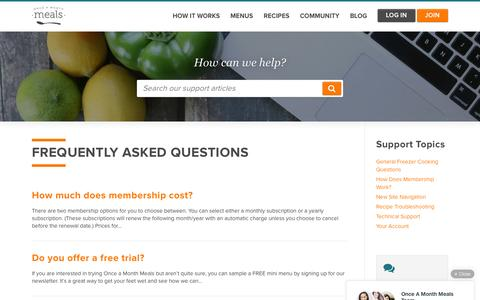 Screenshot of Support Page onceamonthmeals.com - Support Articles Archive | Once A Month Meals - captured Aug. 28, 2016