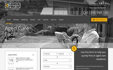 Screenshot of Home Page regis.com.au - Regis Aged Care: Aged Care | Aged Care Facilities | Residential Aged Care Facilities | Nursing Homes - captured Sept. 25, 2014
