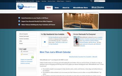 Screenshot of Home Page mikvahminder.com - Home - More than a Mikvah Calendar - captured Oct. 6, 2014