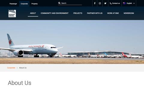 Screenshot of About Page bne.com.au - About Us   Brisbane Airport - captured Sept. 22, 2018