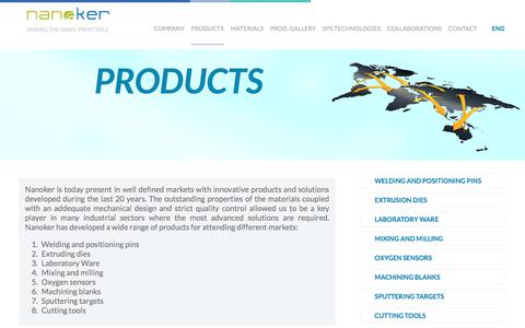 Screenshot of Products Page nanoker.com - Products - captured Oct. 26, 2017