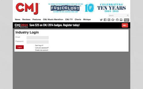 Screenshot of Login Page cmj.com - CMJ Industry Login - captured Sept. 22, 2014