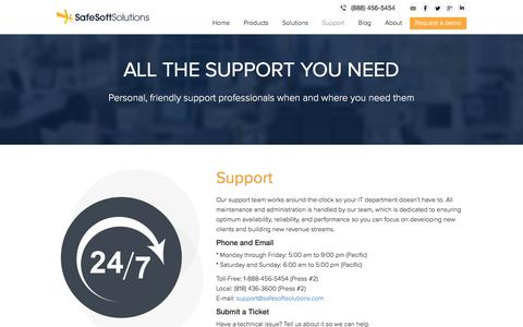 Screenshot of Support Page safesoftsolutions.com - Support | SafeSoft Solutions Cloud Based Call Center - captured Nov. 3, 2015