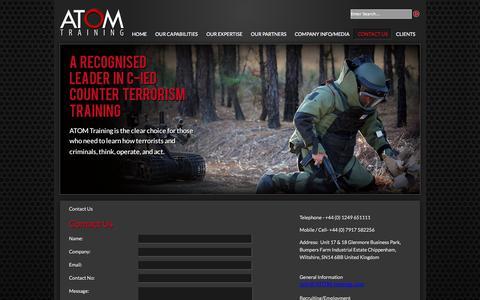 Screenshot of Contact Page atom-training.com - Atom Training - Contact Us - captured Sept. 30, 2014