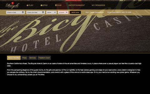 Screenshot of About Page thebike.com - The Bicycle Hotel & Casino - captured Jan. 17, 2016