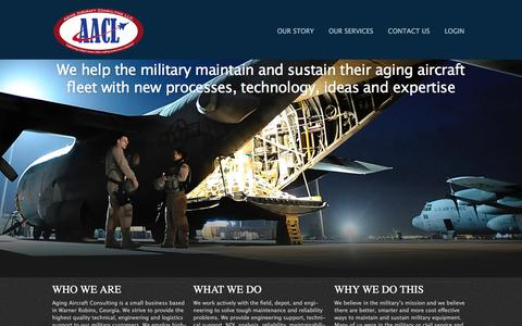 Screenshot of Home Page aacl.aero - Aging Aircraft Consulting LLC - Maintenance and Sustainment Solutions for Military & Aging Aircraft - captured Feb. 5, 2016